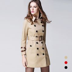 Women 2017 Spring Autumn Clothing Solid Color Lady Long Windbreak Double Breasted Slim Bur Women Trench Coat With Belt outwear. Yesterday's price: US $163.50 (134.51 EUR). Today's price: US $89.93 (74.33 EUR). Discount: 45%.