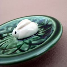 Bunny in a Grassy Patch Green Trinket Dish  by alinahayesceramics, $21.00