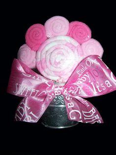 GIRL RECEIVING BLANKET Flower - baby shower centerpiece baby shower ideas baby shower gifts Baby washcloth. $19.99, via Etsy.