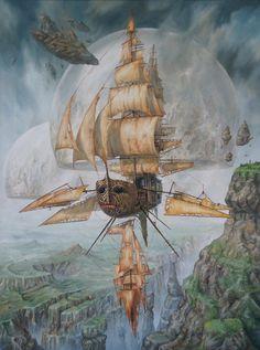 Here's another amazing #fantasy #airship by Jaroslaw Jasnikowski, http://www.jjart.eu/pol/pojazdy.php