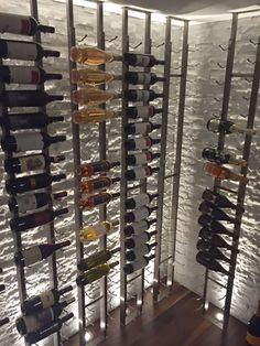 Contemporary Wine Cellar Design Ideas: Features floor to ceiling. Best Picture For DIY Wine Rack a Glass Wine Cellar, Wine Cellar Racks, Home Wine Cellars, Wine Rack Wall, Wine Wall, Wine Cellar Modern, Modern Wine Rack, Wine Rack Design, Wine Cellar Design