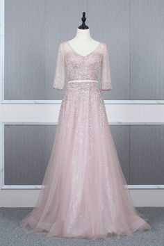 Modest Long A Line Pink Tulle Beaded Prom Evening Dress V Neck Half Sleeves Corset Blush Pink Prom Dresses, Winter Prom Dresses, Pink Tulle, Evening Dresses, Formal Dresses, Orange Blush, Purple Grey, Prom Dresses Online, Long A Line