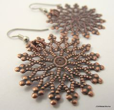 Antiqued Copper Snowflake Earrings by JSWMetalWorks http://www.ecrafty.com/casearch.aspx?SearchTerm=snowflake http://www.ecrafty.com/c-963-christmas-holiday-charms.aspx