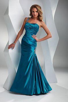 Etui/Meerjungfrau eine Schulter natürliche Taille Blaugrün seidenartiger Satin modernes bodenlanges Abendkleid