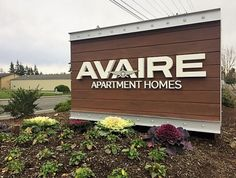 Avaire Apartments monument sign with composite wood cladding and aluminum C-channel Monument Signage, Lake Stevens, Wood Cladding, Business Signs, Sign Design, Apartments, Channel, Outdoor Decor, Benches