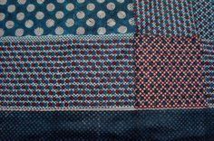 indigo and madder colored dot scape series of block printing on khadi.