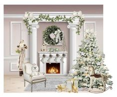 """""""Deck the Halls"""" by ebbyinez on Polyvore featuring interior, interiors, interior design, home, home decor, interior decorating, Frontgate, Melrose International and Goodwill"""
