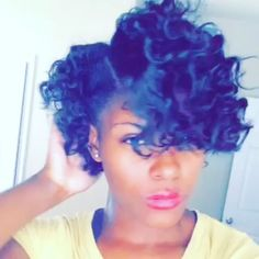 Bantu knot out on relaxed hair