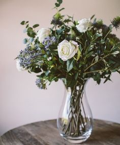 White Rose & Eucalyptus Arrangement