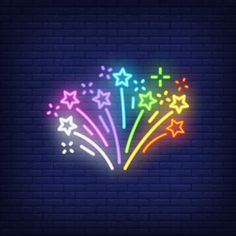 Multicolored firework on brick background. Neon Light Art, Neon Light Signs, Neon Signs, Neon Wallpaper, Wallpaper Backgrounds, Iphone Wallpaper, Neon Aesthetic, Rainbow Aesthetic, Hight Light