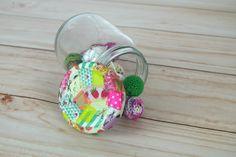 Pote de vidro decorado com washi tape