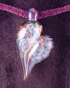 Glass heart pendant.  Brent Graber.  borosilicate glass. Very gorgeous.