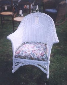 How to Paint Wicker. Do it. then make cushion. Look up books at library. and see this article.
