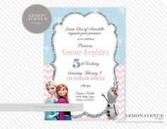 Frozen Invitation Custom Frozen Invitation Birthday Party, Olaf, Elsa, Anna, Frozen Party Decor,  Chevron, Glitter, Disney Frozen, Frozen