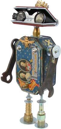 : Height: Principal Components: Jubilee souvenir tin, opera glasses, wrenches, oil lamp part, hydraulic fittings Fobots- Found Object Robots. From an artist and illustrator in Raleigh who scours thrift and antique stores for parts. Recycled Robot, Recycled Art, Found Object Art, Found Art, Steampunk Robots, Arte Robot, Sculpture Metal, Find Objects, Assemblage Art