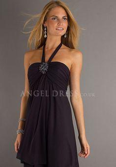 A line Short Length Halter Empire Chiffon Sleeveless Cocktail/ Coast Dress