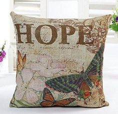 Cotton Linen Square Home Decorative Throw Pillow Cover Cushion Case Pillow Case 18 X 18 Inches / 45 X 45 cm (Butterfly HOPE)  http://www.amazon.com/gp/product/B00CPW24FA