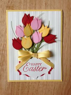 Stampin Up handmade all occasion,spring, happy easter card - bouquet of tulips. via Etsy. happy easter card using bird builder punch happy easter card, or perhaps Mothers day build a bird punch wing OR heart punch cut in half Like the tulip layer shape Handmade Greetings, Greeting Cards Handmade, Handmade Easter Cards, Punch Art Cards, Flower Cards, Creative Cards, Homemade Cards, Mothers Day Cards Homemade, Stampin Up Cards