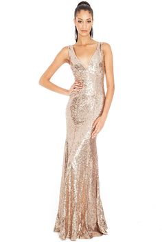 Goddiva Champagne Long Sequin Sweetheart Evening Maxi Gown Dress Prom Party 8-14 £69.99