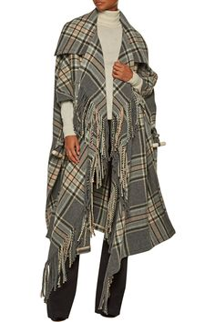Shop on-sale Chloé Fringed plaid wool-blend coat. Browse other discount designer Coats & more on The Most Fashionable Fashion Outlet, THE OUTNET.COM