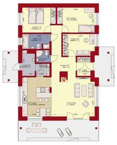 Plan casa parter cu 2 dormitoare si birou