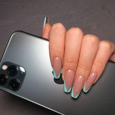 Acrylic Nails Coffin Short, Blue Acrylic Nails, Simple Acrylic Nails, Summer Acrylic Nails, Glue On Nails, Gel Nails, Nail Nail, Manicure, Faux Ongles Gel