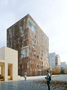a f a s i a: Raum #terras #screens #zonwering #binnenbuiten #materialisatie #uitzicht #privacy #appartementen #gevel #compositie