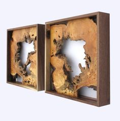 Hanging ash wood slices (framed)
