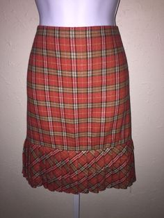 Ann Taylor Loft Orange Plaid Pleated Hem Straight Skirt Size 14 Wool Blend | eBay