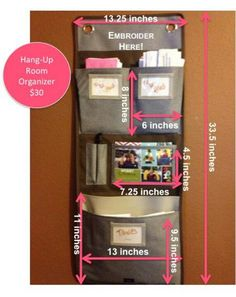 Hang up room organizer with dimensions