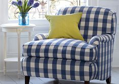 <3  love this chair - buffalo check  Would love this in red in family room