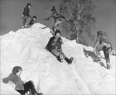 This is what we did at recess at school. The snowbanks were so high back then.