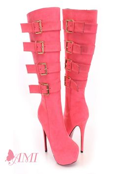 Make a fashion statement with these stylish boots! They are perfect for stomping around town! Match them with your favorite skinnies or dress and you are sure to turn heads! Make sure you add these to your collection, it definitely is a must have! These boots feature a faux suede upper, knee high, pink color bottom, almond close toe, wrap around strap with side buckle closure, side zipper, smooth lining, and cushioned footbed. Approximately 6 inch heel, 2 inch hidden platform, 13 inch shaft…