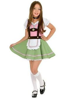 Child's Gretchen Swiss Alps Girl Costume This little Alpine miss costume includes a charming pink and green dress with puff sleeves, attached apron, suspenders, white petticoat and velvet choker. Halloween Costumes For Girls, Girl Costumes, Children Costumes, Halloween Halloween, Vintage Halloween, Halloween Makeup, Preteen Girls Fashion, Girl Fashion, German Costume