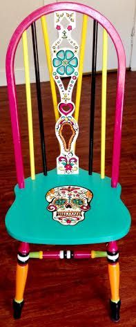 Hand Painted Custom Sugar Skull Wood Chair by WineMe on Etsy
