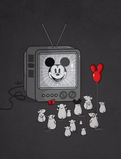 The mice have gathered to watch their favourite mouse in action. Awesome illustration by artist Nabhan Abdullatif.