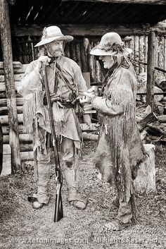 mountain man old photo | Two Mountain Men sharing a story at Historic Fort Bridger in Southern ...