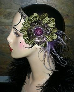 One of a Kind Vintage Inspired Roaring Flapper Girl Headband by Graceful Butterfly winner of the 2012 Hatty Award 1920s Glamour, 1920s Headpiece, 20s Flapper, Vintage Fashion 1950s, Tribal Belly Dance, Roaring 20s, Floral Headbands, Vintage Style Dresses, Classic Outfits