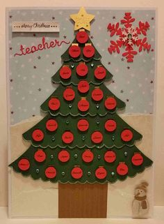 Personalised Teacher Christmas Card hand crafted with names of the class pupils on each of the baubles. I like to make my own embellishments where I can and a lot of my cards are cut by hand. Christmas Card For Teacher, Teacher Cards, Christmas Tree Cards, Christmas Baubles, Xmas Cards, Holiday Cards, Christmas Holidays, Christmas Crafts, Snowman Party