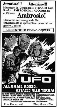 """""""UFO: Allarme rosso... attacco alla Terra!"""" (Invasion: UFO, 1963) di Gerry Anderson, con Ed Bishop, Michael Billington e Wanda Ventham. Italian release: June 3rd, 1973 #MoviePosters #UFO"""