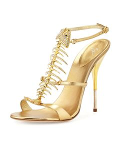 Giuseppe Zanotti Crystal Fishbone Metallic Sandal, Gold | Buy ➜ http://shoespost.com/giuseppe-zanotti-crystal-fishbone-metallic-sandal-gold/