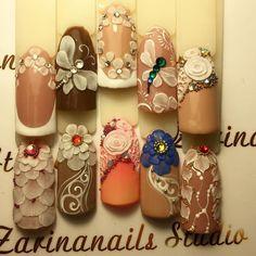 Nail Art Decoration With Rhinestones And Glitter 3d Acrylic Nails, Acryl Nails, 3d Nail Art, Cool Nail Art, Cute Nails, Pretty Nails, Disney Inspired Nails, 3d Nail Designs, Latest Nail Art