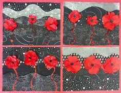 ANZAC idea - Poppy collages for Remembrance Day (tissue paper, scrapbook paper, glitter glue) - I'd possibly do it on a blue background Remembrance Day Activities, Remembrance Day Art, Poppy Craft For Kids, Art For Kids, Arte Elemental, Ww1 Art, Collages, Anzac Day, Ecole Art