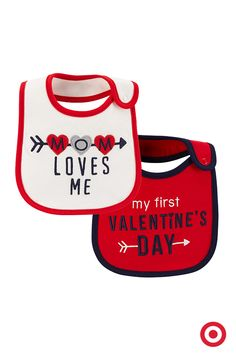 It's your baby's first Valentine's Day, and if you're celebrating with something sweet, you'll want one of these adorable bibs from Just One You made by Carter's. Love those sticky little fingers!