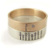 Engagement ring/wedding band with trees. So me!