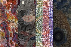 """Included in this collage are from left to right Gabriella Possum Nungurrayi's """"Grandmother's Country"""", Freda Price Petyarre's """"Country"""", Deborah Napaljarri Wayne's """"Mt Doreen Dreaming"""" and Sarrita King's Waterholes"""" 🙌 Online Painting, Aboriginal Art, Artist Painting, Western Australia, Online Art, Collage, King, Country, Gallery"""