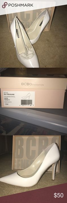 BcBg never worn white heels White BCBG heels with box . Perfect condition never worn. Style BG-Treasure . Does not have tags because it didn't come with any tags on them BCBG Shoes Heels