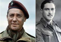 Richard Todd was as an officer in the King's Own Yorkshire Light Infantry in 1941, later transferred to the Parachute Regiment. As a Captain on 6 June 1944, he was among the first British officers to land in Normandy. His battalion were reinforcements that parachuted in after glider forces had landed and completed the main assault against Pegasus Bridge. He later met up with Major John Howard on Pegasus Bridge.