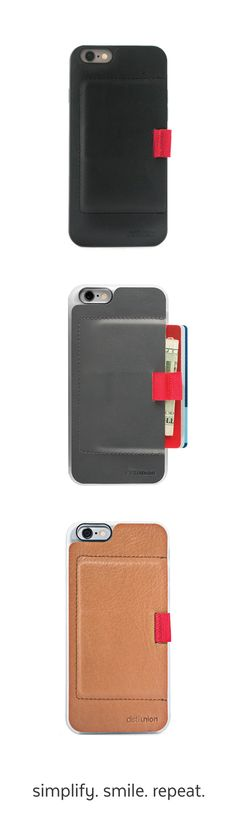 Simplify, smile, and repeat with minimalist phone case or stick-on wallets from Distil Union.
