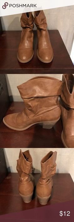 Brand New American Eagle Tan Cowboy Boots Bought them for my daughter and she never worn them. Great tan boots with small heel. American Eagle Outfitters Shoes Ankle Boots & Booties